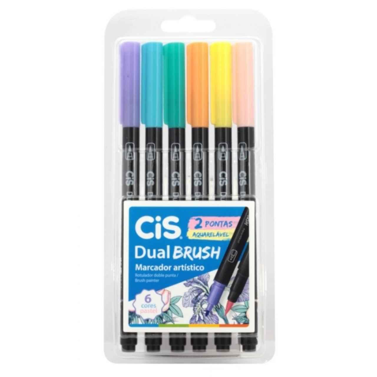 Kit Caneta Brush Ponta Dupla Pastel Aquarelavel 6 Cores Pastel - CIS