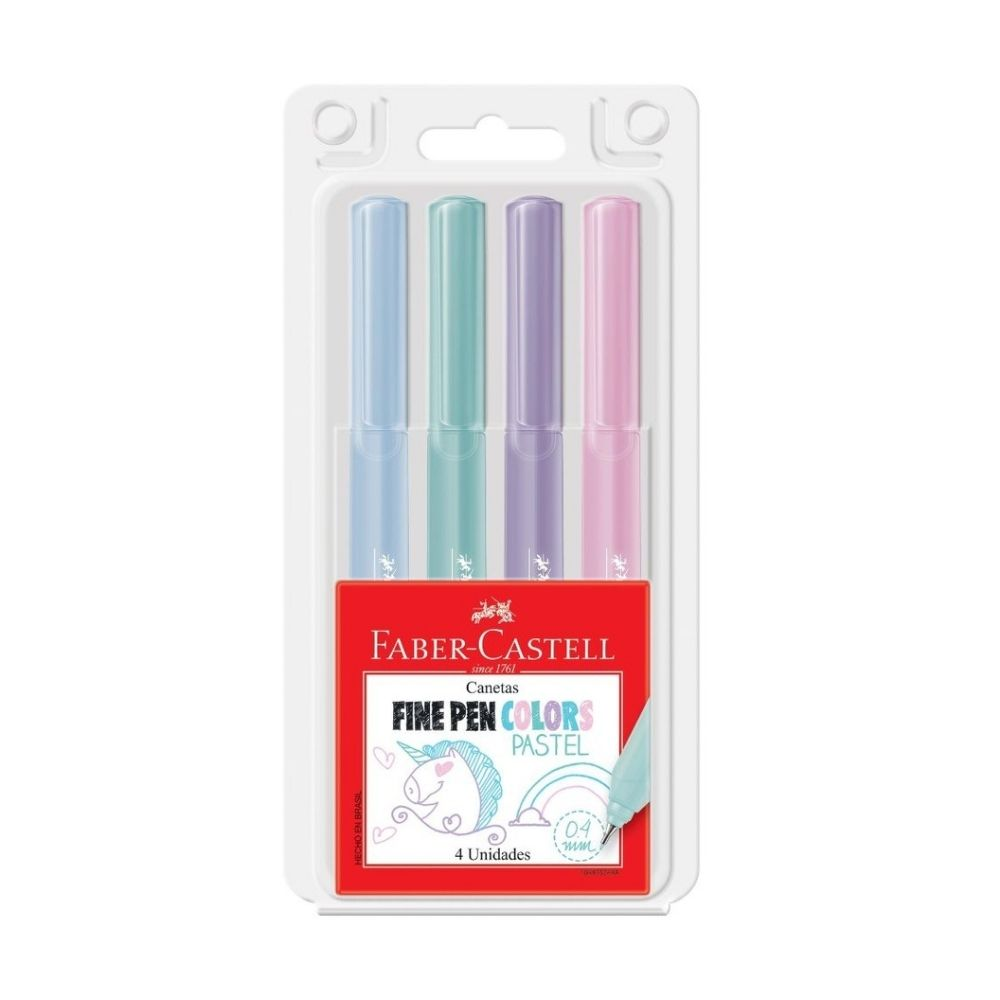 Kit Pastel Canetas Fine Pen 0.4mm FABER CASTELL