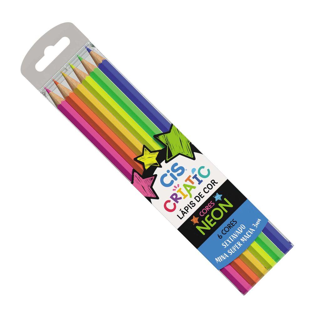 Lápis de Cor Criatic Estojo com 6 Cores Neon - CIS