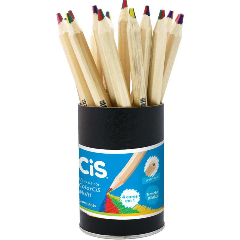 Lápis de cor (jumbo) Multicolor Grafite 4 Cores - CIS