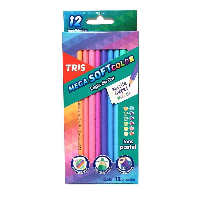 Lápis de Cor Mega Soft Tons Pastel 12 Cores TRIS