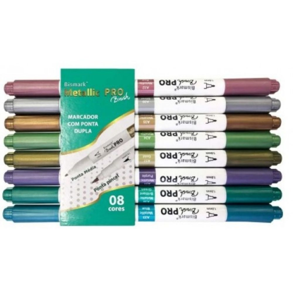 Marcador Dual Brush Pen Pro Metálica BISMARK