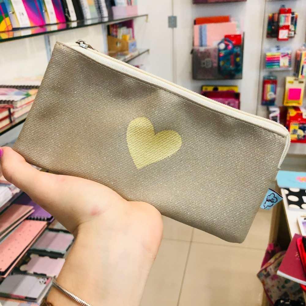 Necessaire Dupla Coração Dourado FRICOTE