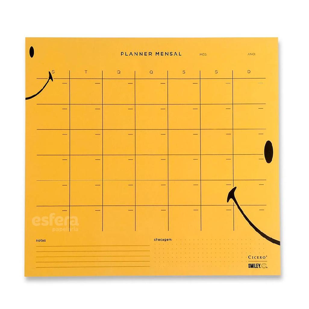 Planner Bloco Mensal Smiley Amarelo 29,7 x 27 CÍCERO