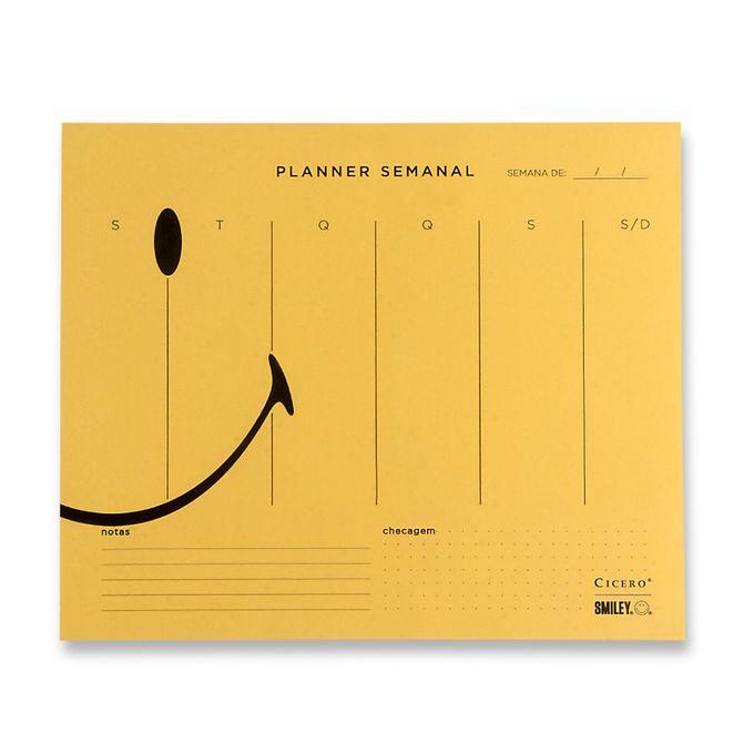 Planner Bloco Semanal Smiley Amarelo 24,5 x 20,3 CÍCERO