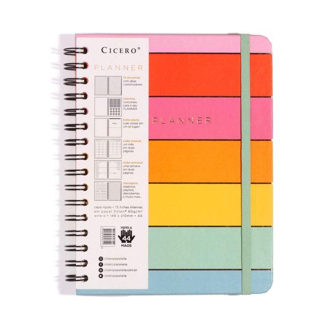 Planner Wire-o Todas Juntas Semanal 14,8 x21 Arco-íris CÍCERO