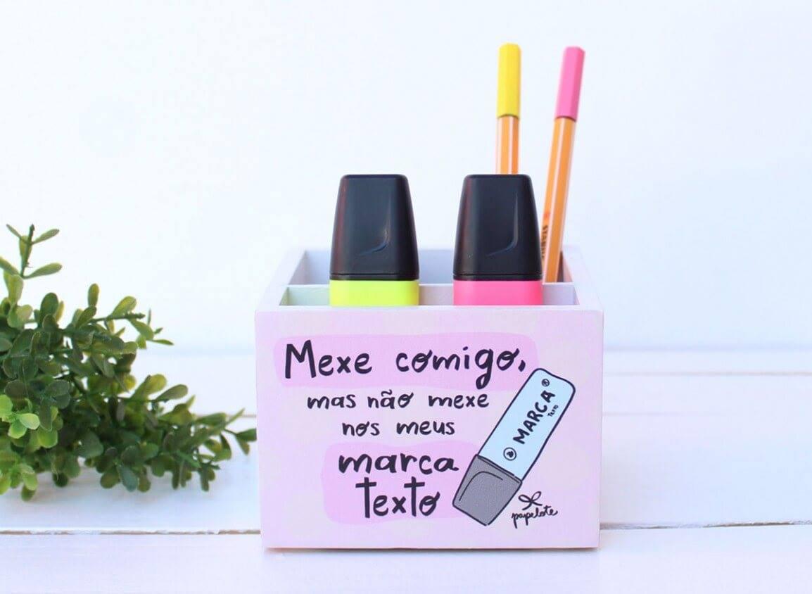 """Porta Treco 10x10 """"Mexe Comigo/Marca-Textos"""" PAPELOTE"""