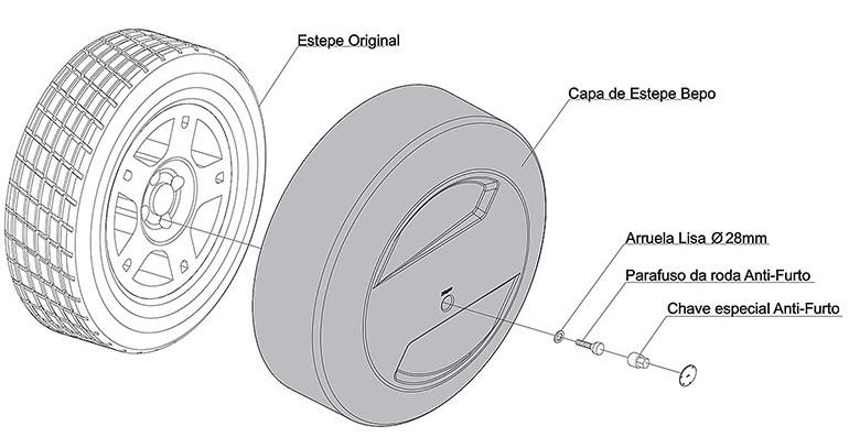 Capa de estepe rígida Novo Ecosport 2013 a 2016 cor Laranja Savana