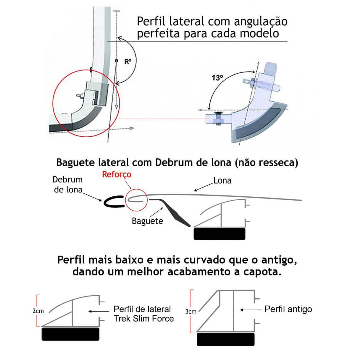 Capota marítima slim force L200 GL 1999 a 2005 ou L200 GLS 1999 a 2007 sem grade de vidro