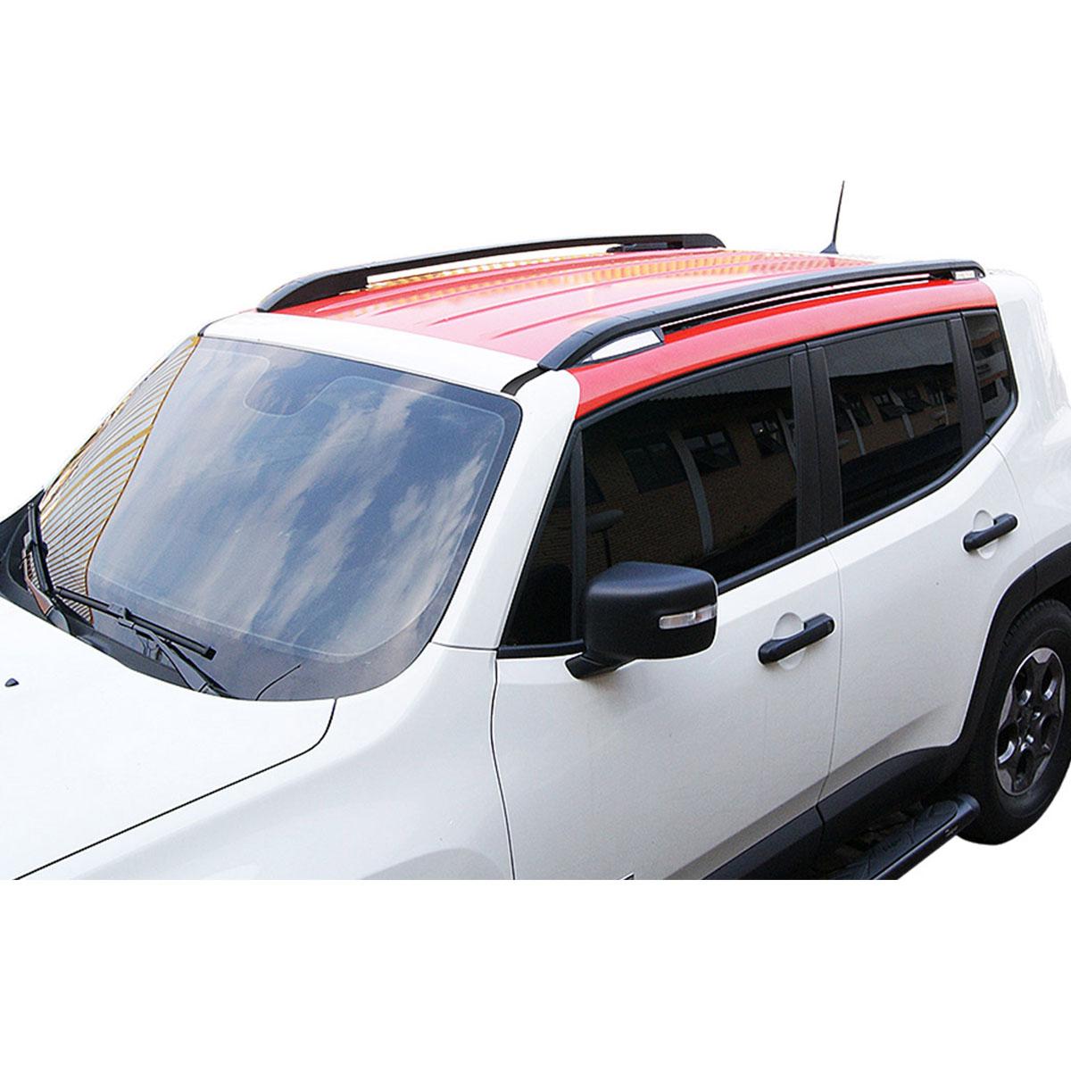 Longarina rack de teto Jeep Renegade 2016 2017 alumínio cor preta