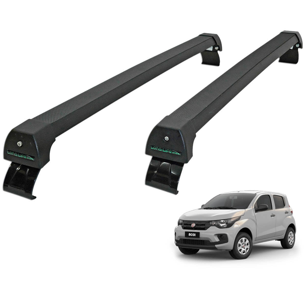 Rack de teto Fiat Mobi 2017 Long Life Sports preto