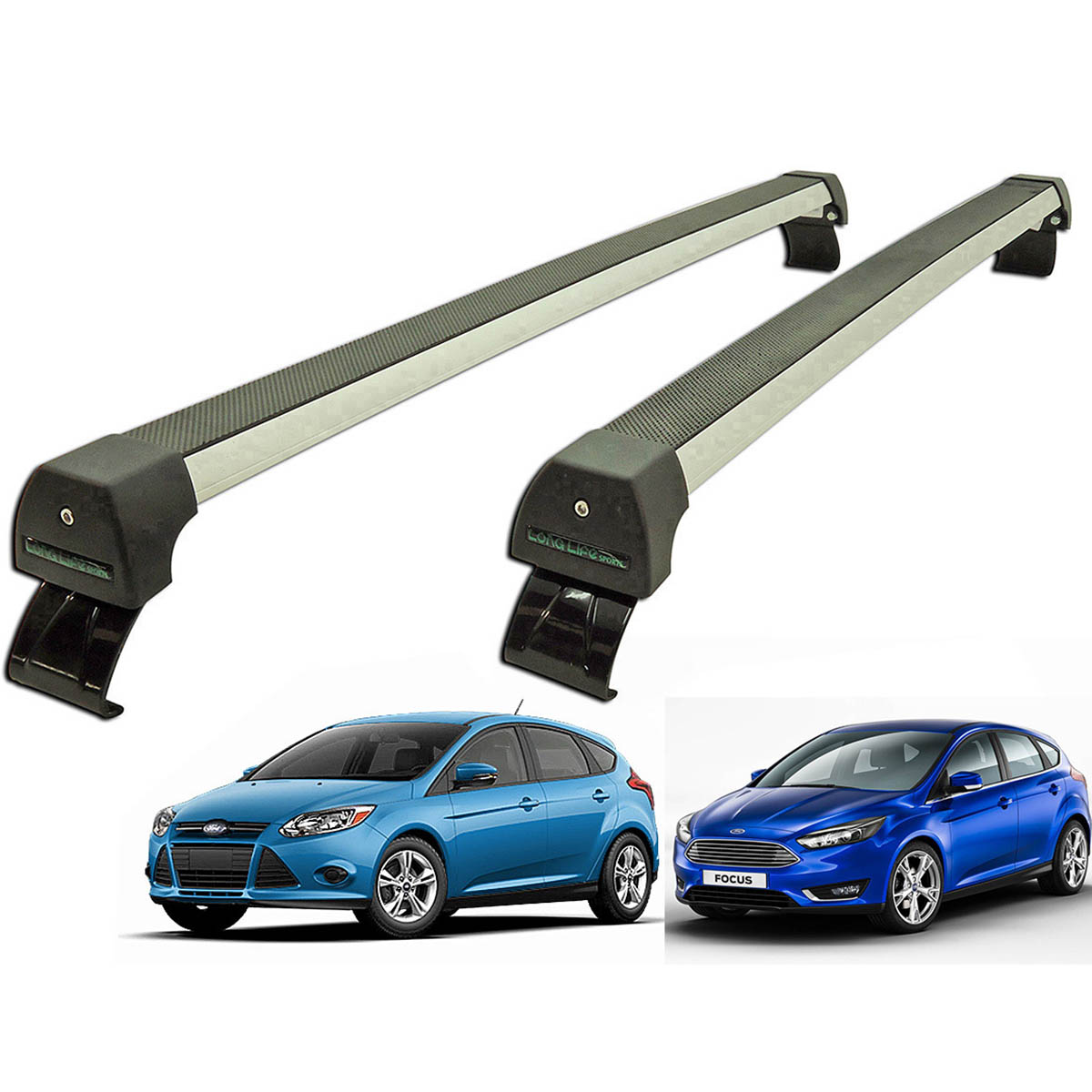 Rack de teto Focus 2014 a 2017 Long Life Sports anodizado