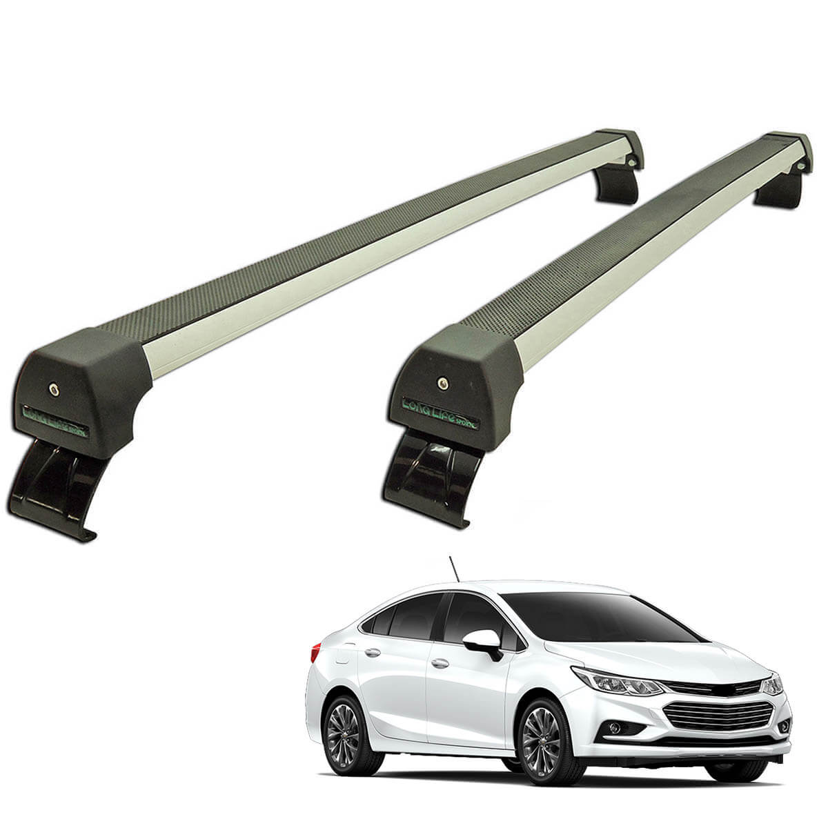 Rack de teto Novo Cruze sedan 2017 2018 Long Life Sports anodizado