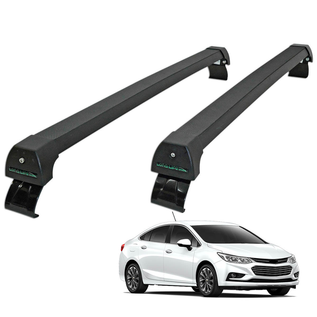 Rack de teto Novo Cruze sedan 2017 Long Life Sports preto