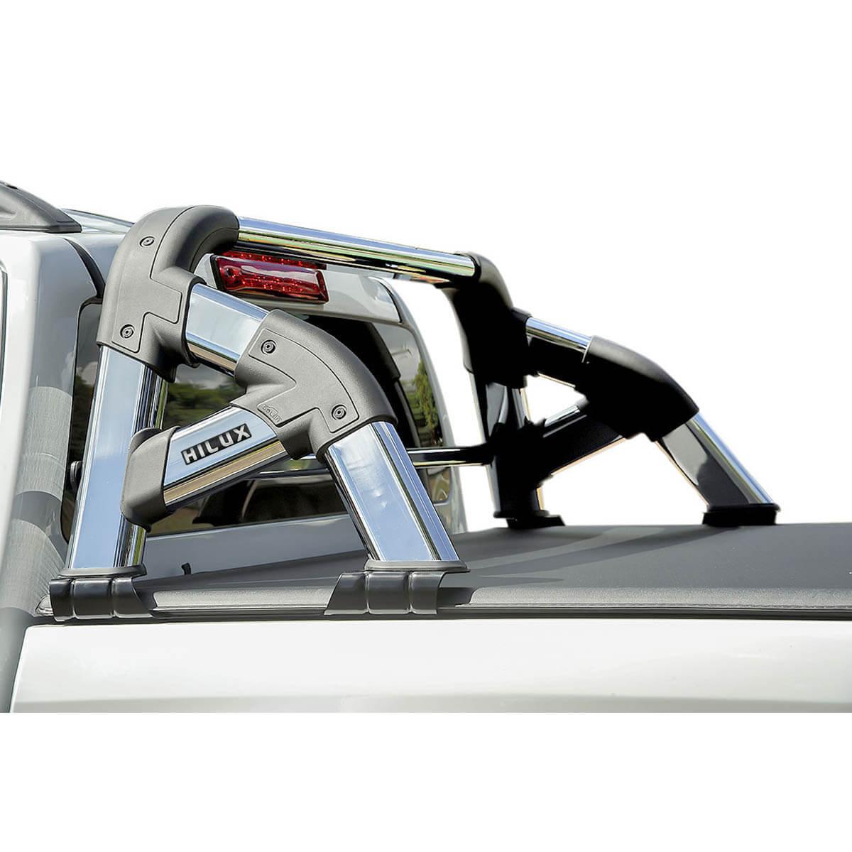 Santo antônio cromado Solar Exclusive Nova Hilux 2016 2017 com barra de vidro cromada