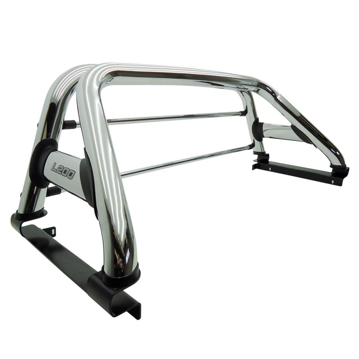 Santo antônio duplo cromado L200 GL 1999 a 2005 ou L200 GLS 1999 a 2007 com barras de vidro cromadas