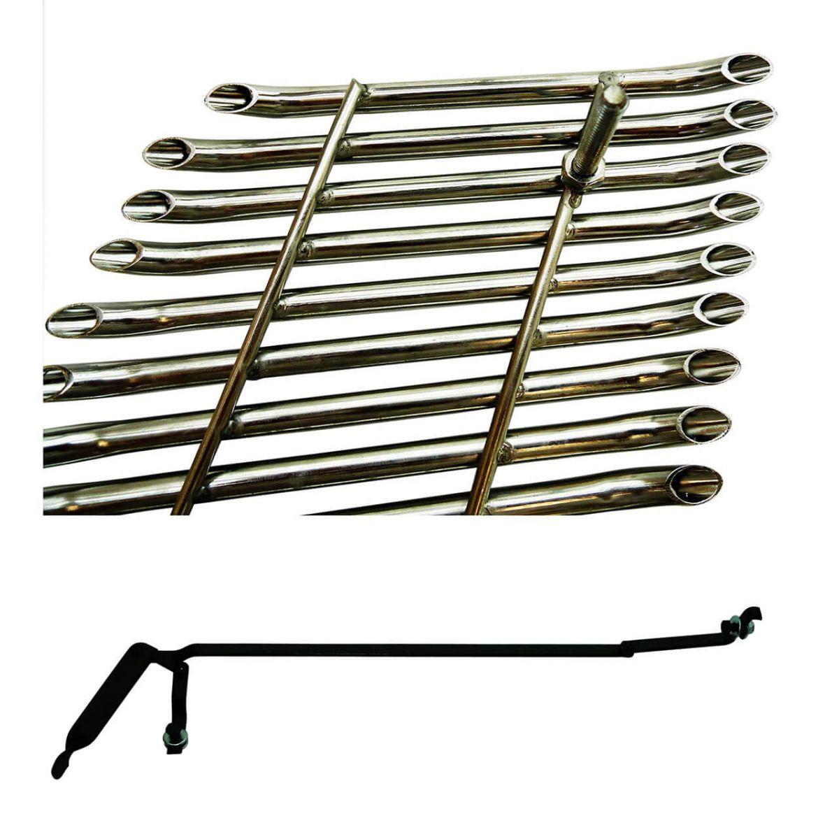 Sobre grade filetada em aço inox S10 2009 a 2011 - kit 3 peças