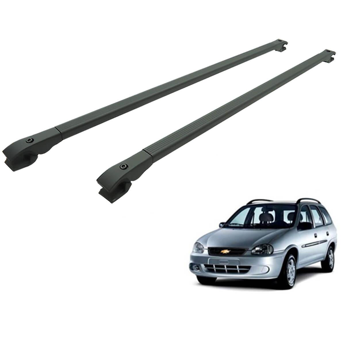 Travessa rack de teto alumínio preta Corsa Wagon 1997 a 2002
