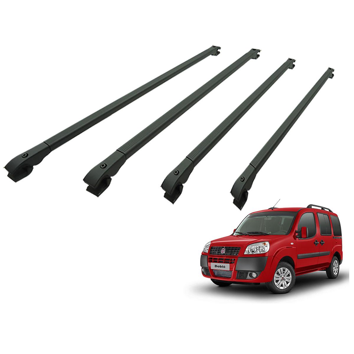 Travessa rack de teto alumínio preta Doblo 2002 a 2017 kit 4 peças