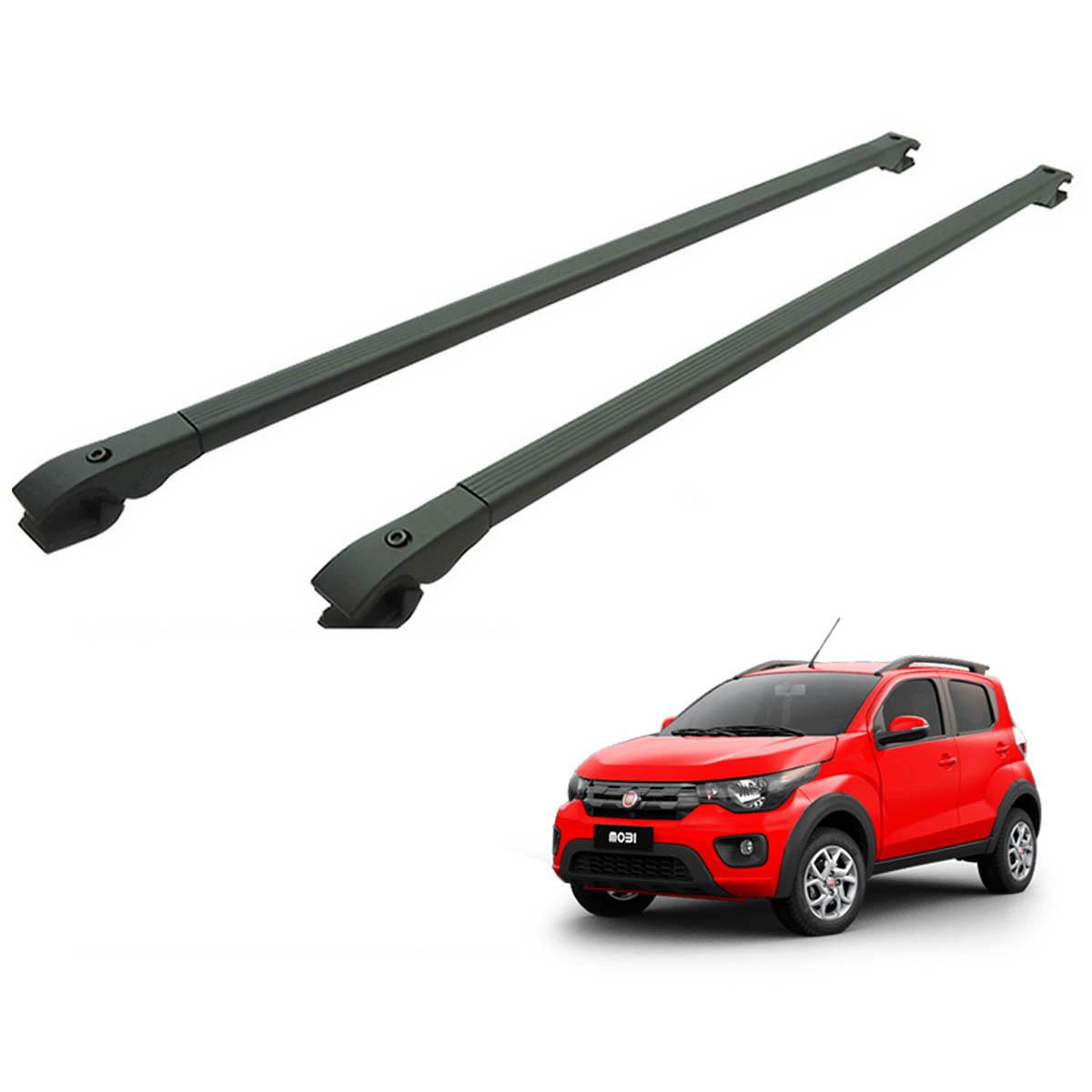 Travessa rack de teto alumínio preta Fiat Mobi Way 2017