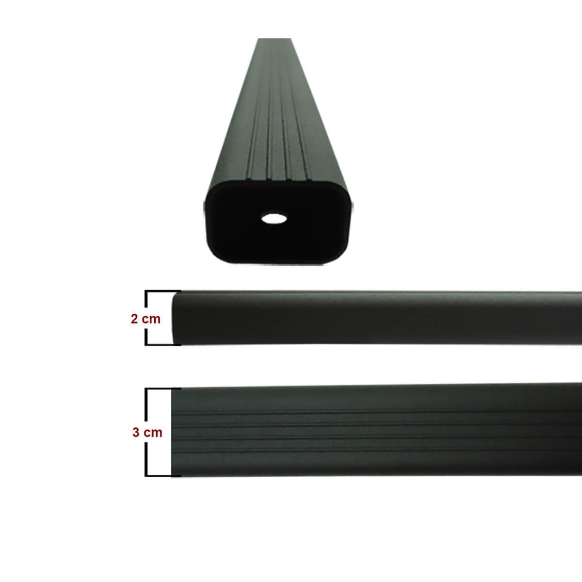 Travessa rack de teto alumínio preta Palio Weekend 1997 a 2018 kit 3 peças