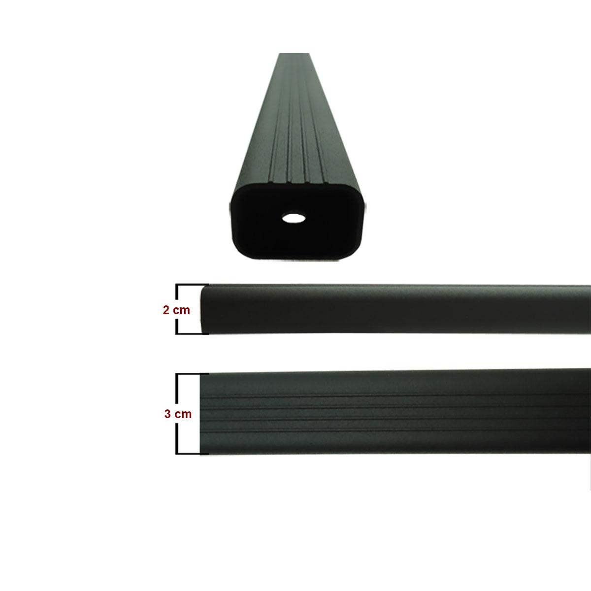 Travessa rack de teto alumínio preta Spacefox 2006 a 2017 ou Space Cross 2012 a 2017 kit 3 peças