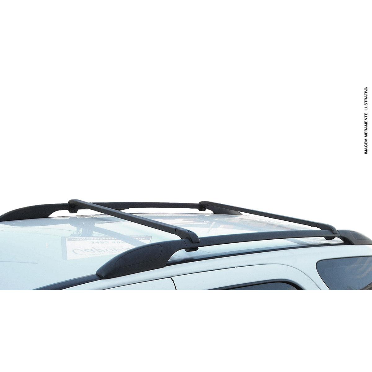Travessa rack de teto alumínio preta Tracker 1999 a 2009 kit 3 peças