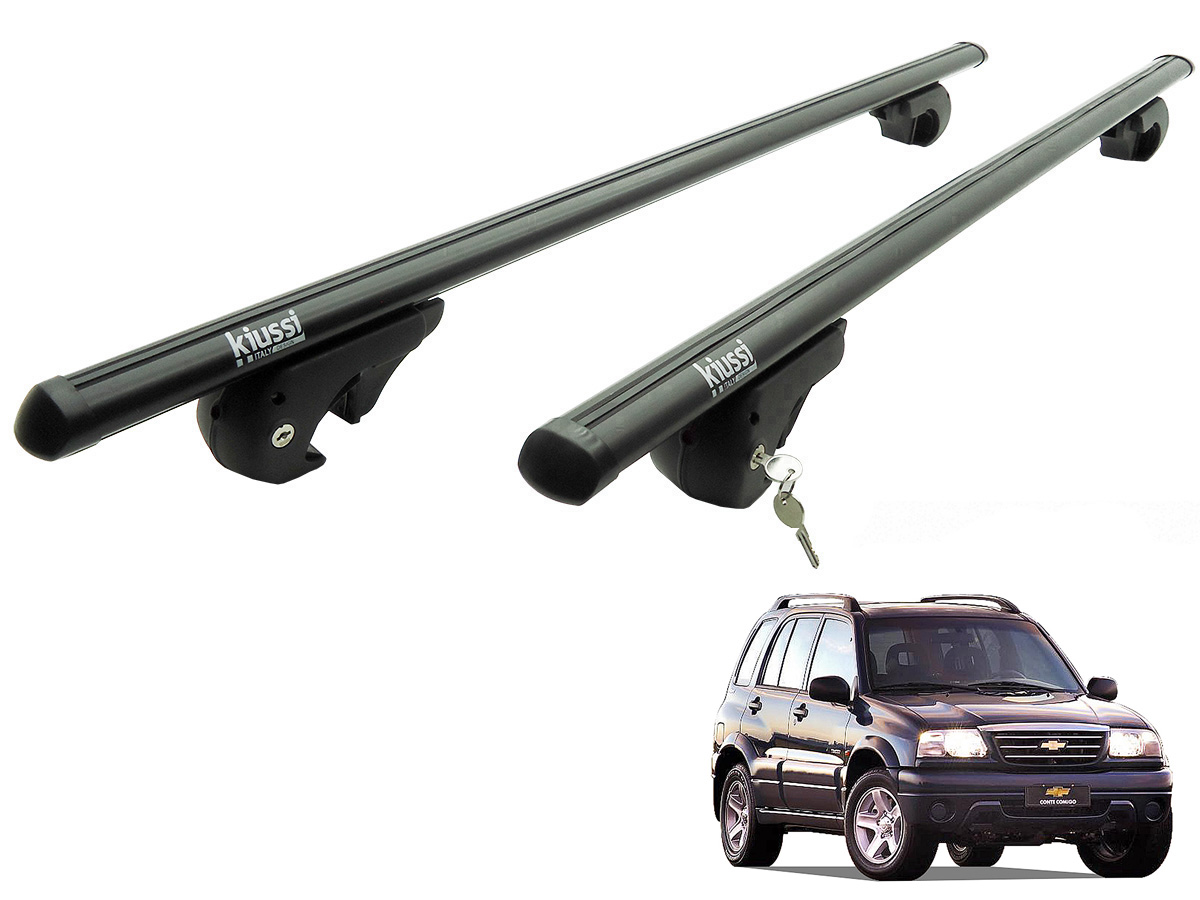 Travessa rack de teto Belluno Kiussi preta com chave Tracker 1999 a 2009