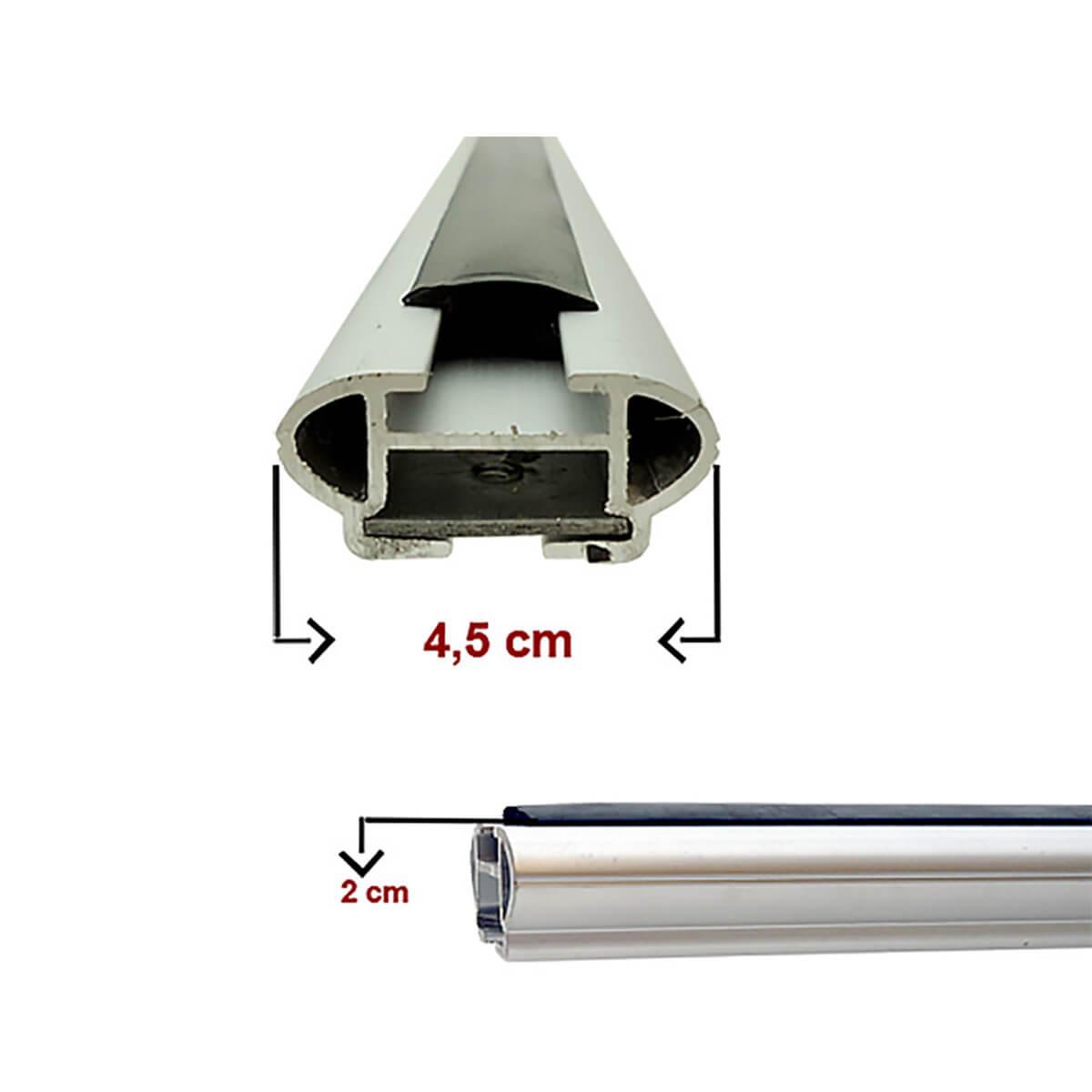 Travessa rack de teto larga alumínio Fiat Toro 2017