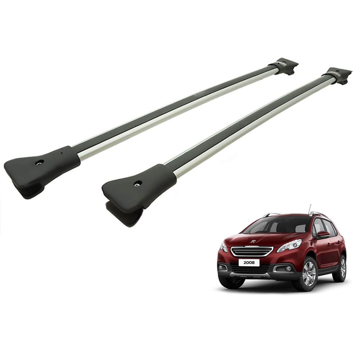 Travessa rack de teto larga alumínio Peugeot 2008 2016 e 2017