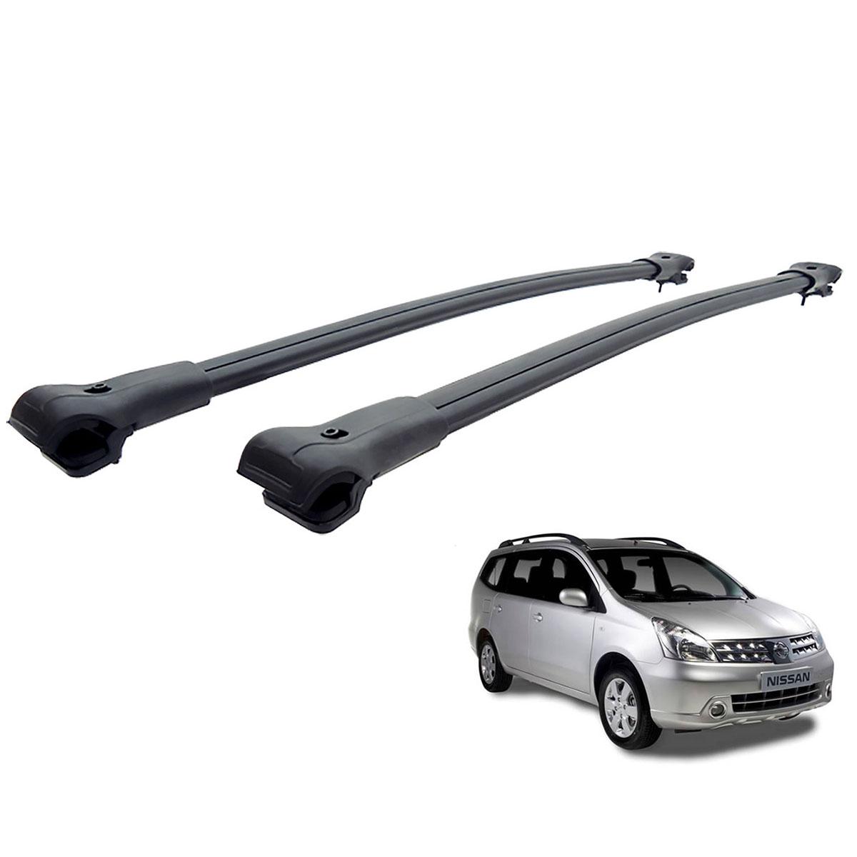 Travessa rack de teto larga preta alumínio Grand Livina 2009 a 2012