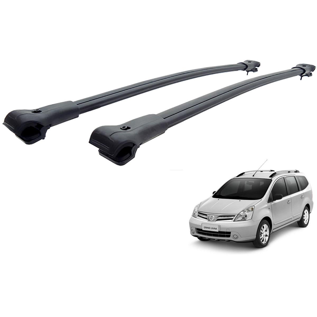 Travessa rack de teto larga preta alumínio Grand Livina 2013 a 2015