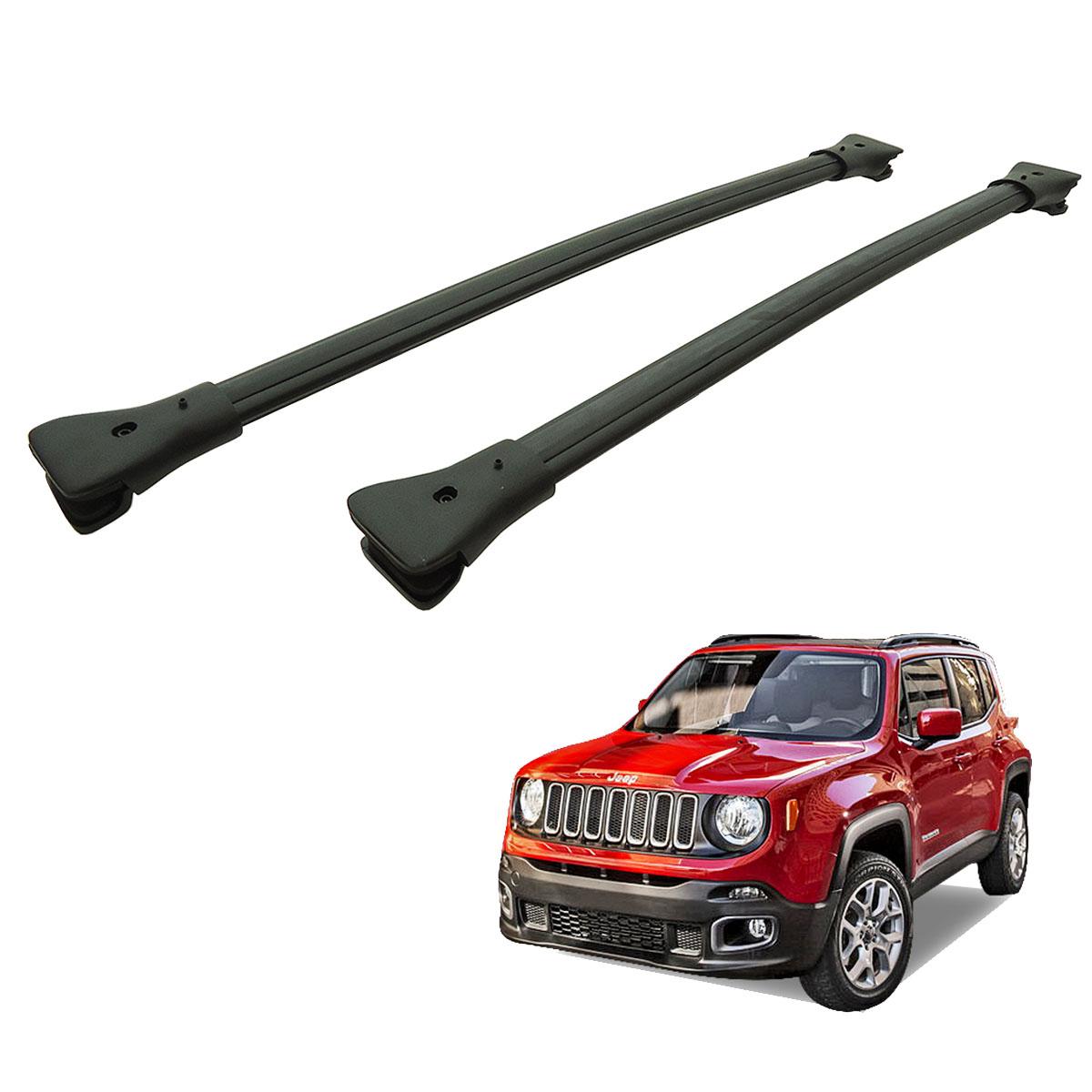 Travessa rack de teto larga preta alumínio Jeep Renegade 2016 2017