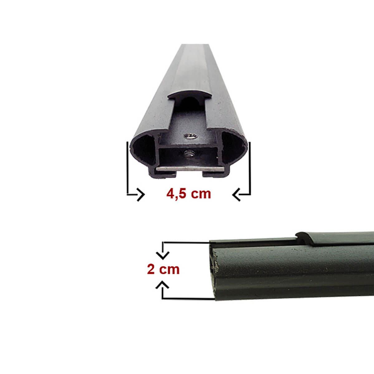 Travessa rack de teto larga preta alumínio Pajero TR4 2010 a 2015
