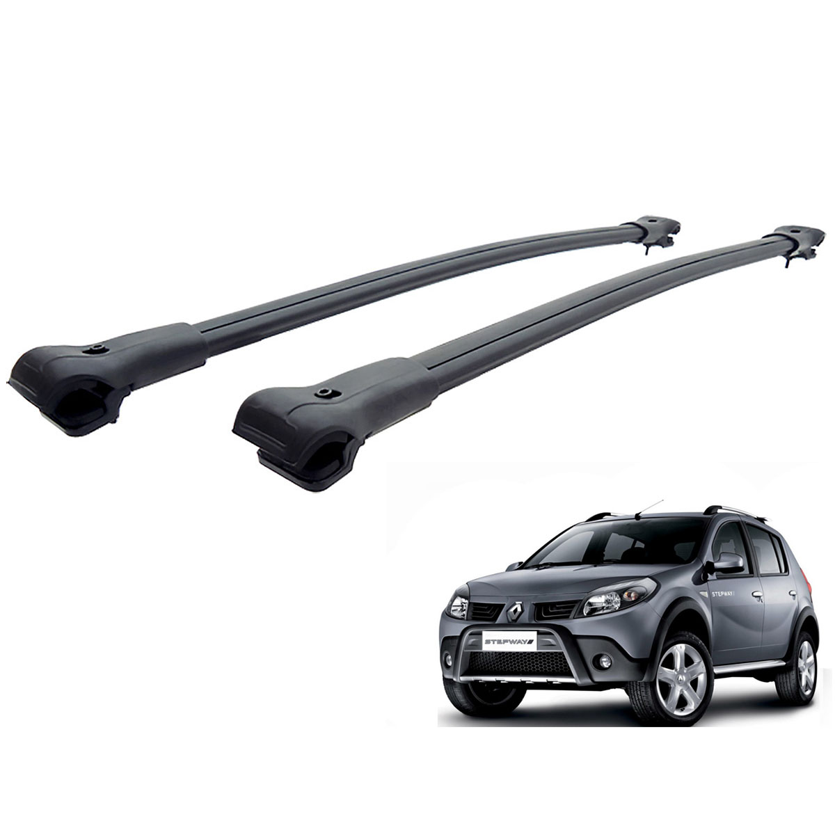 Travessa rack de teto larga preta alumínio Sandero Stepway 2009 a 2014