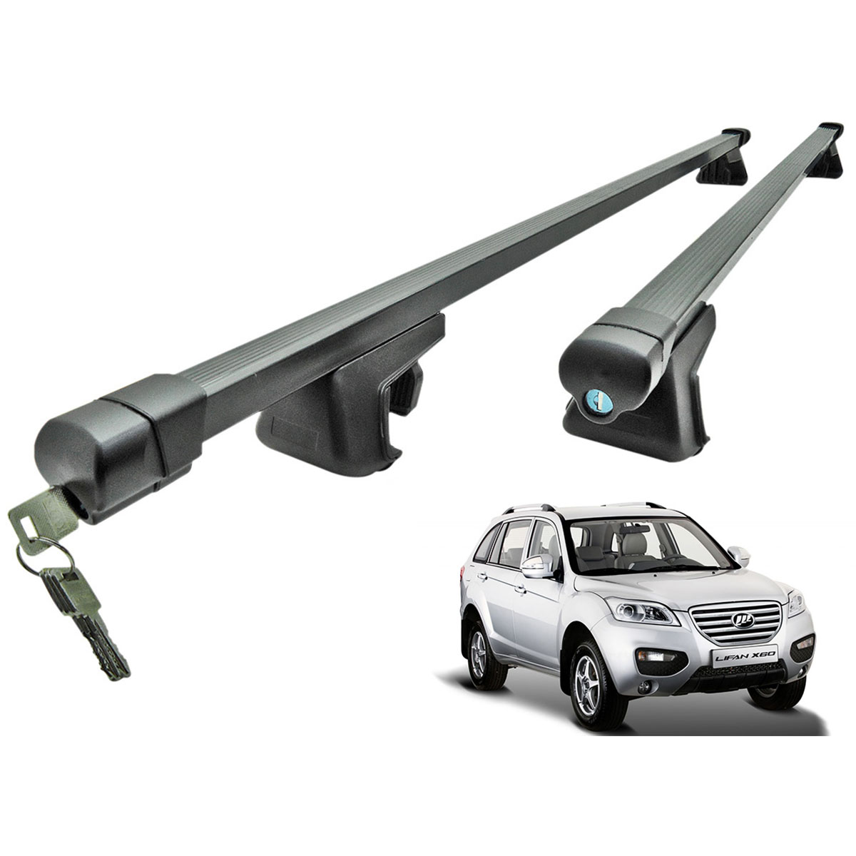 Travessa rack de teto preta com chave Lifan X60 2013 a 2016