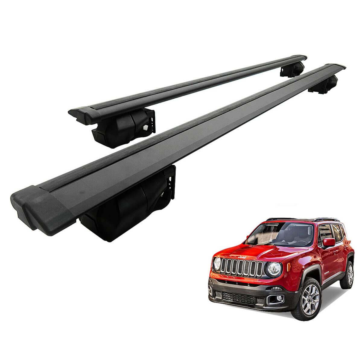 Travessa rack de teto Procargo preta Jeep Renegade 2016 2017 com trava de segurança