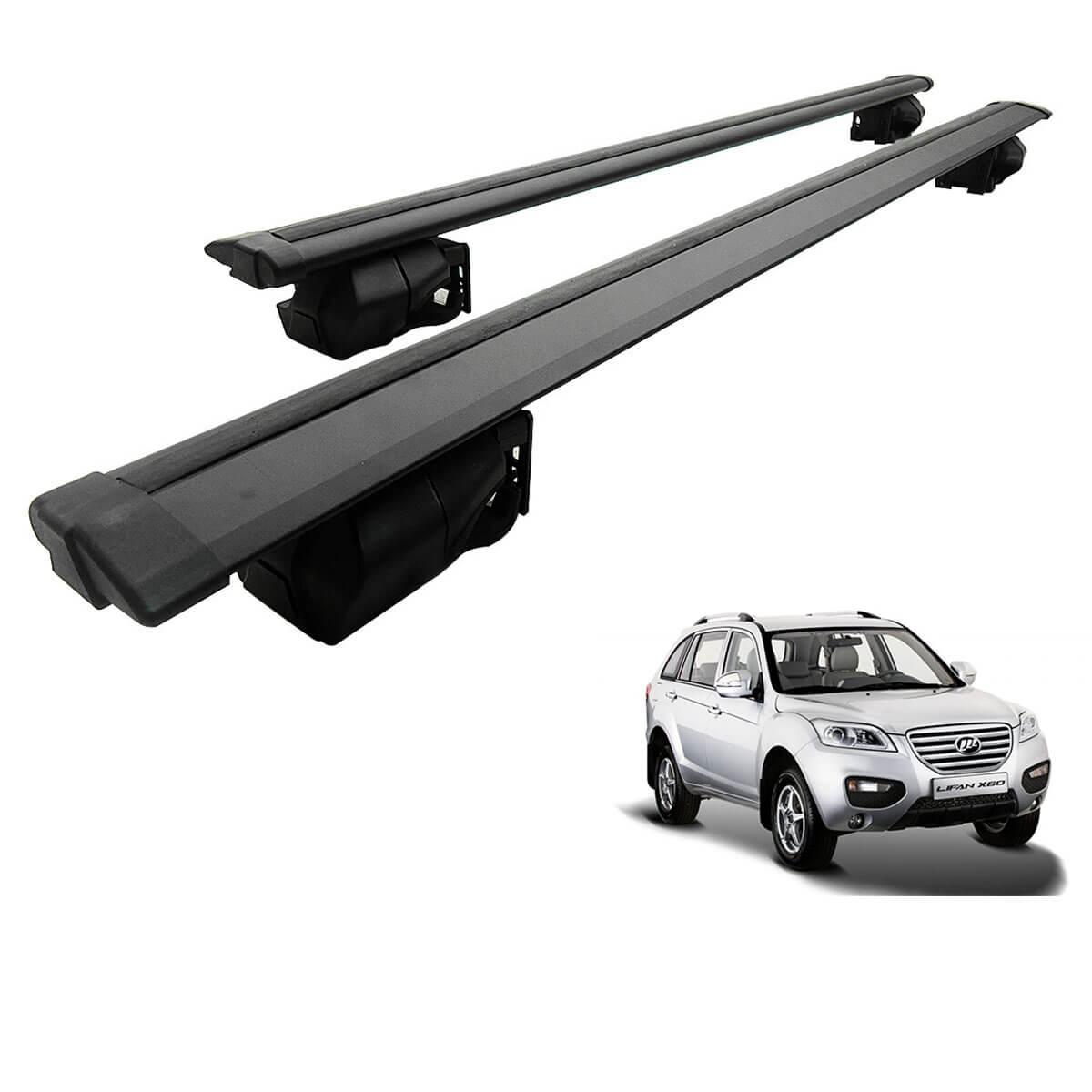 Travessa rack de teto Procargo preta Lifan X60 2013 a 2017 com trava de segurança