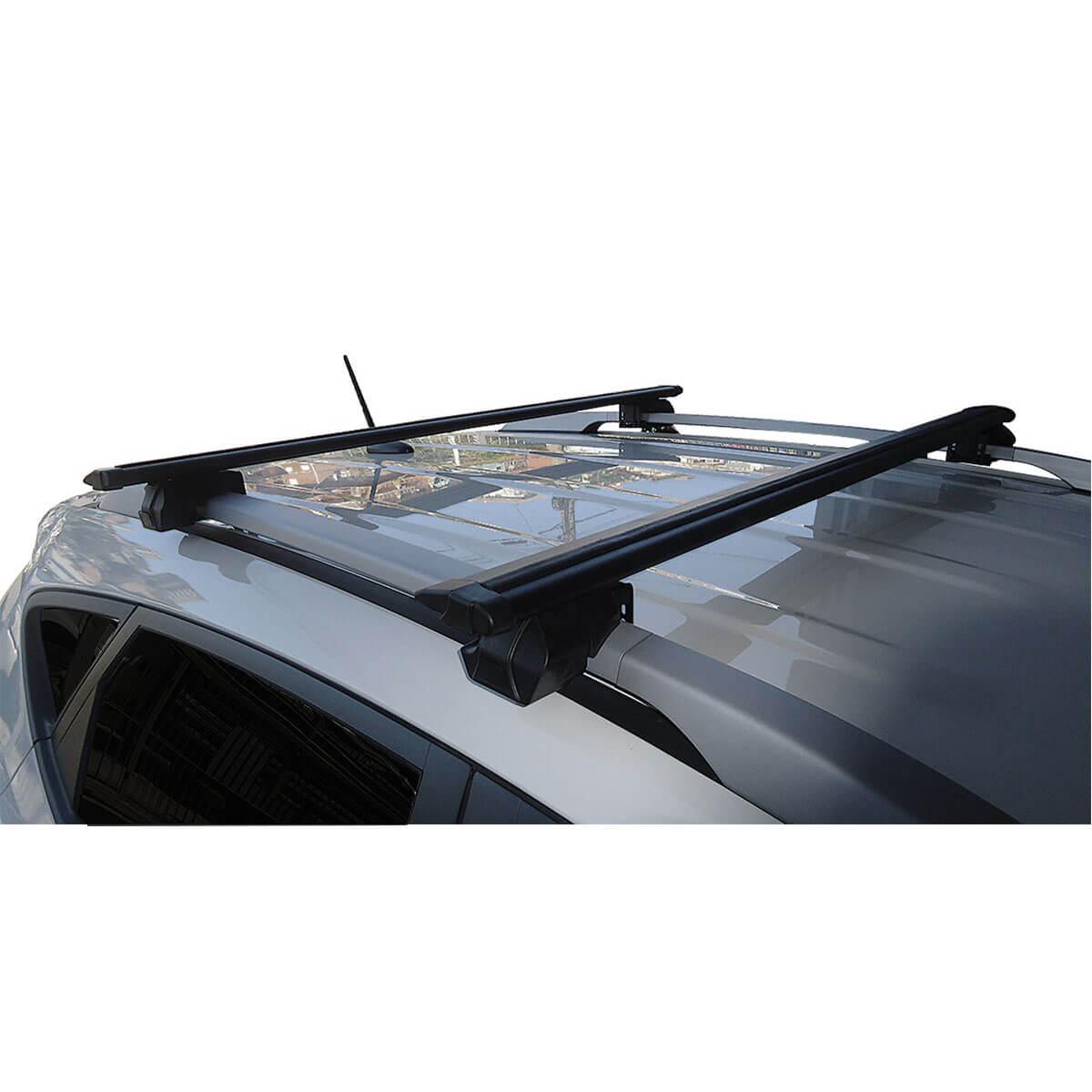 Travessa rack de teto Procargo preta RAV4 2006 a 2012 com trava de segurança