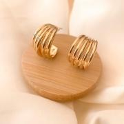 Argola 5 filetes lisos banhada em ouro 18k