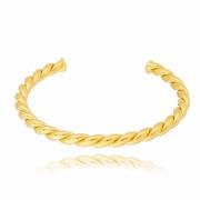 Bracelete liso torcido banhado em ouro 18k