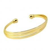 Bracelete três fio lisos banhado em ouro 18k