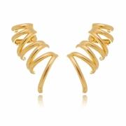 Brinco ear cuff Silvia filetes lisos com clips banhado em ouro 18k