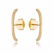 Brinco ear hook banhado em ouro 18k filete liso