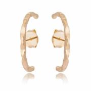 Brinco ear hook banhado em ouro 18k ondulado