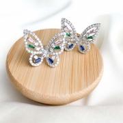Brinco prata borboleta zircônias brancas e coloridas banho em ródio