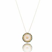 Colar longo estrela madrepérola bordado tie dye esmeralda banhado em ouro 18k