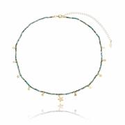 Colar pedrinhas tie dye esmeralda rondel com  estrelinhas banhado em ouro 18k