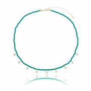 Colar rondel esmeralda com ponto de luz banhado em ouro 18k
