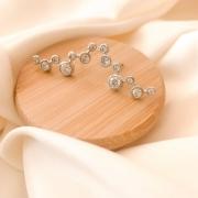 CÓPIA - Brinco ear cuff pontos de zircônia banhado em ródio